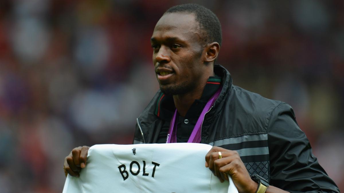 Usain Bolt en Old Trafford. (Getty Images)