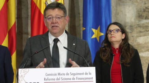 El presidente de la Generalitat, Ximo Puig, y la vicepresidenta del Consell, Mónica Oltra. (Foto: GV)
