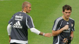 Beckham y Casillas, en su etapa en el Real Madrid. (Getty)