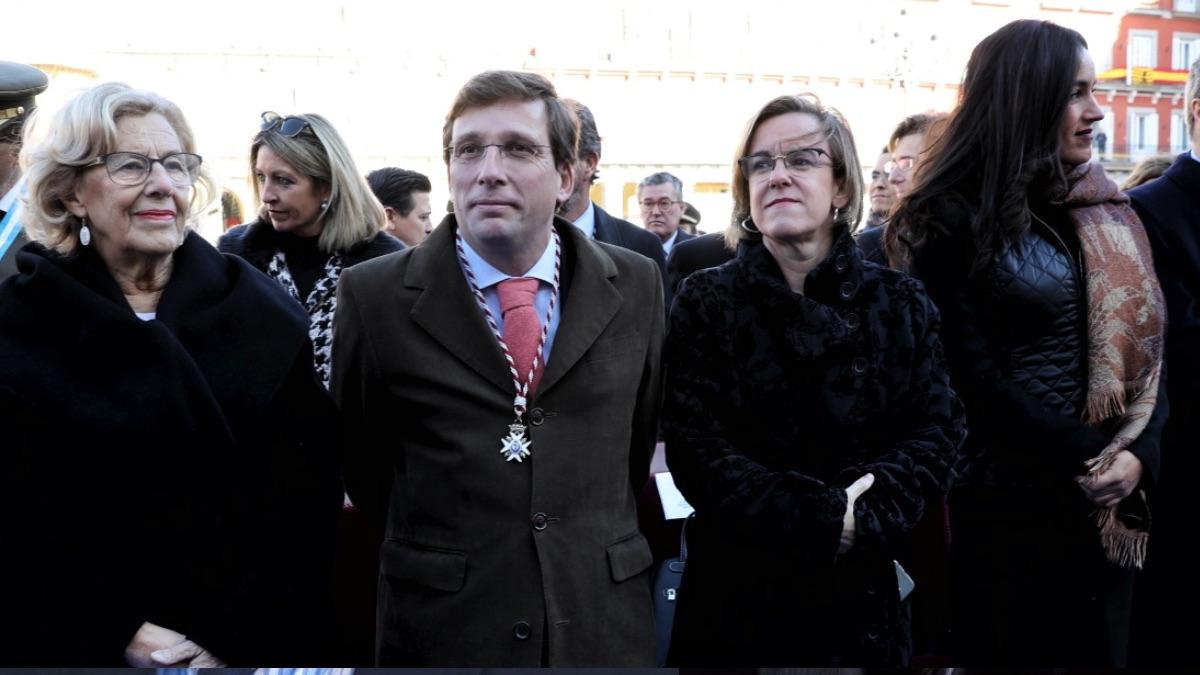 La alcaldesa Carmena junto a los portavoces Almeida (PP), Causapié (PSOE) y Ciudadanos (Villacís). (Foto: Madrid)