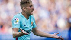 Deulofeu durante un partido con el Barcelona. (Getty)