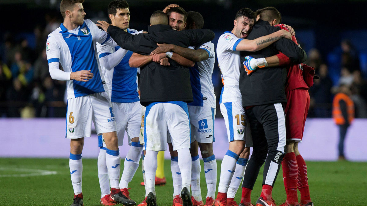 Los jugadores del Leganés celebran el pase a cuartos de la Copa. (EFE)