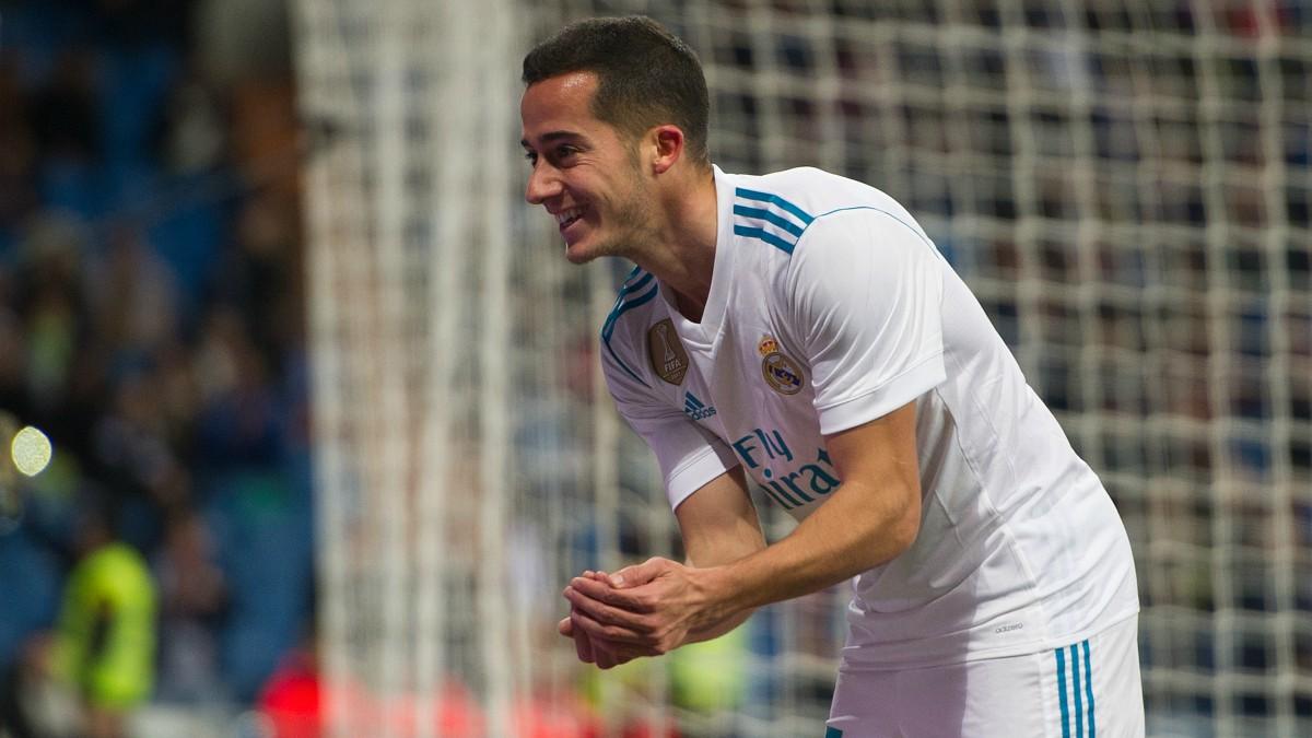 Lucas Vázquez celebra uno de sus goles al Numancia. (Getty)
