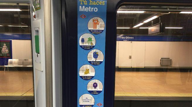 Cifuentes hace una campaña en el metro por el civismo y evita incluir el despatarre