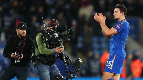 Harry Maguire, jugador del Leicester, durante un partido en la Premier. (Getty)