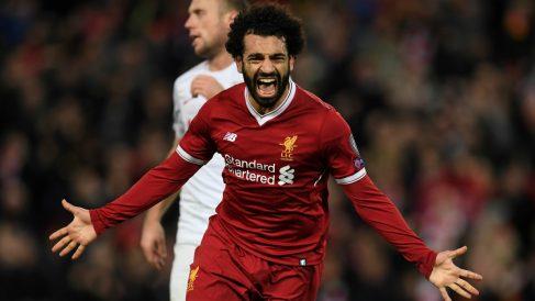 Mohamed Salah celebra un gol con el Liverpool. (AFP)