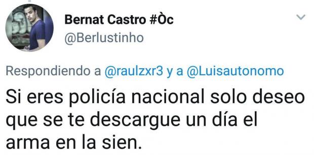 """El íntimo de Rufián y Junqueras llama """"piara de cerdos"""" a los policías condecorados por Zoido"""
