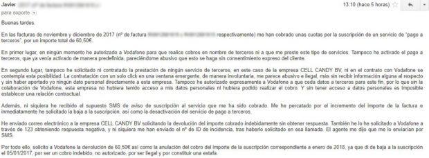 Vodafone reconoce a un cliente que tenía activado por defecto el servicio de pagos a terceros