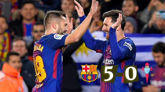 Messi y Jordi Alba lideran la manita al Celta (5-0)