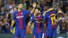 Luis Suárez, Messi y Dembélé celebran un gol. (AFP)