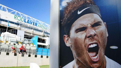 Un cartel del Open de Australia con la imagen de Rafa Nadal. (Getty)