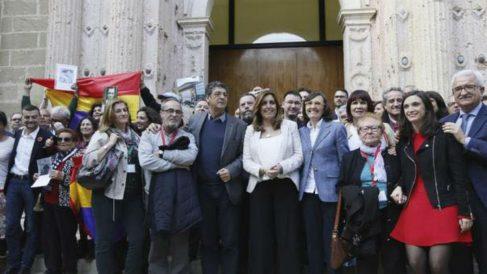 Susana Díaz en el parlamento andaluz tras la aprobación de la Ley de Memoria Histórica y Democrática.