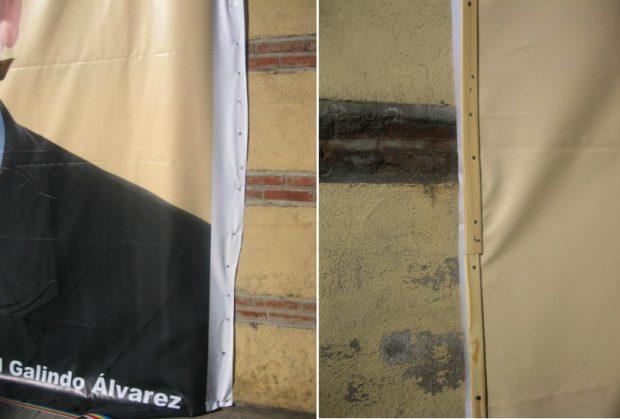 El edil de Boadilla que critica la grabación de Masterchef en una capilla clavó una pancarta en una iglesia