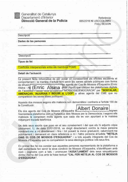 Denuncia contra el portavoz del MxI, Albert Donaire, y el secretario general del sindicato de Mossos SAME