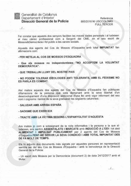 Denuncia contra los mossos independentistas Albert Donaire y Enric Alsina
