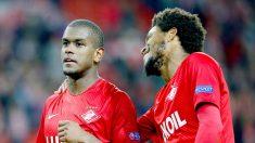 Fernando y Luiz Adriano, dos de los futbolistas que recibieron el mensaje racista del Spartak de Moscú (Getty)