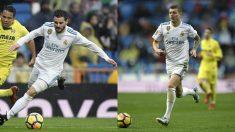 Nacho y Kroos, frente al Villarreal. (AFP)