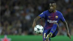 Semedo golpea el balón durante un partido con el Barcelona. (AFP)