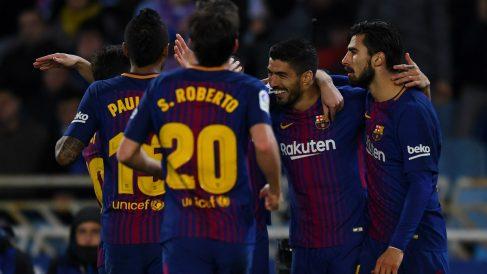 Luis Suárez fue el héroe del Barcelona en Anoeta. (Getty)