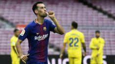 Busquets celebra un gol con el Barcelona. (AFP)