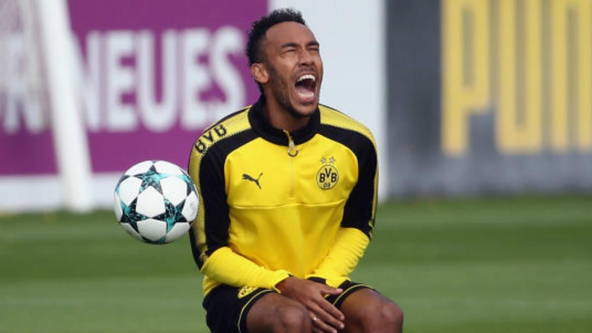 Aubameyang durante un entrenamiento con el Borussia Dortmund (Getty).