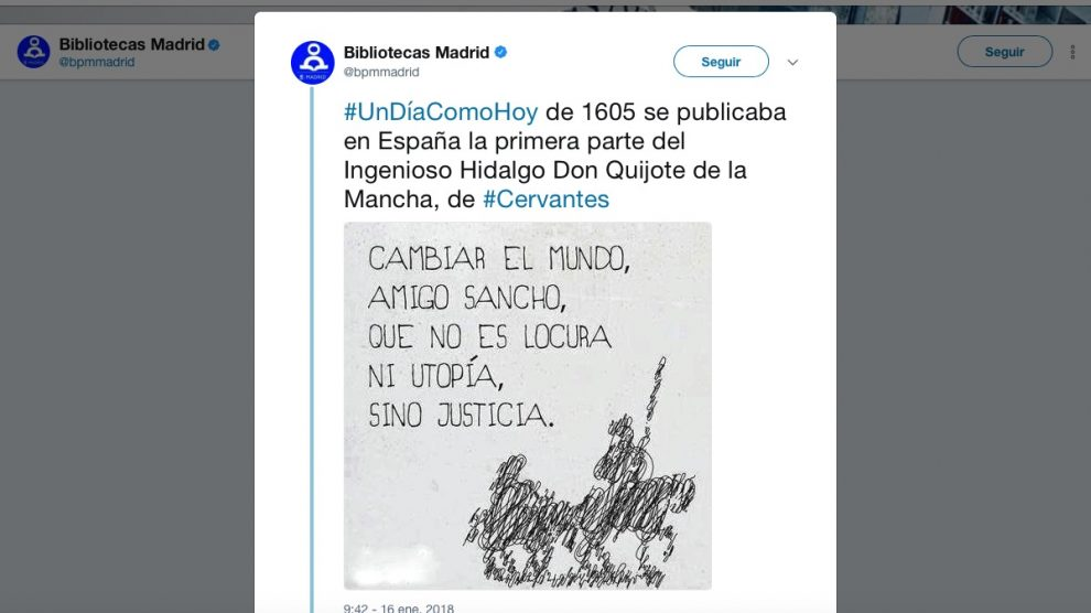 Tuit de la cuenta oficial de Bibliotecas Madrid.