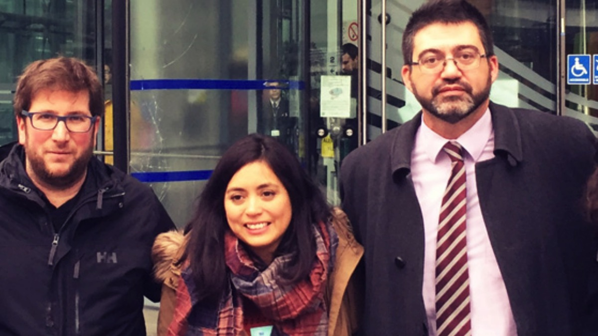 Rommy Arce junto a Carlos Sánchez Mato y Miguel Urbán en Bruselas, en imagen de archivo. (Foto: IU)
