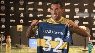 Carlos Tévez, en su presentación con Boca Juniors. (AFP)