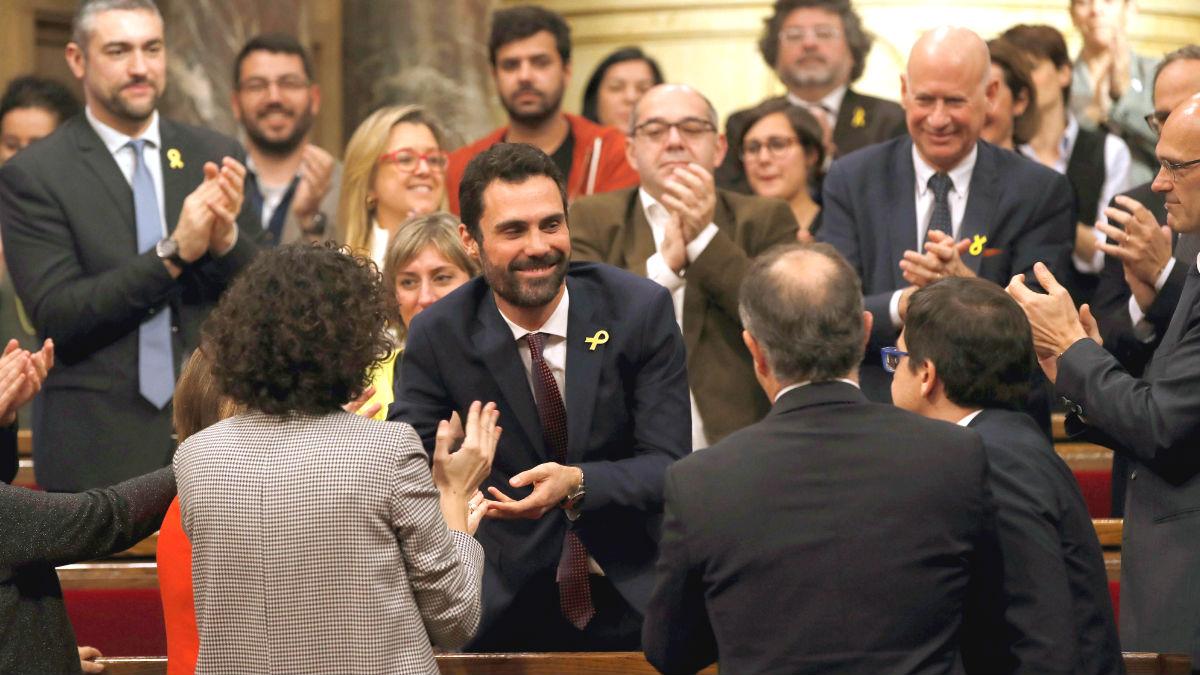 Roger Torrent (ERC), tras ser elegido como presidente del Parlament. (Foto: EFE)
