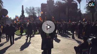La concentración organizada por la ANC situada cerca del Parlament no ha tenido un gran seguimiento