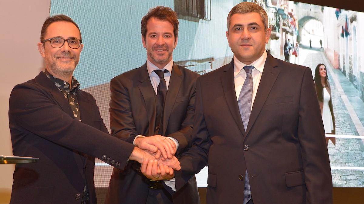 José María Barbat (Sony), Lisandro Menu (Globalia) y Zurab Pololikashvili (OMT).