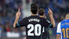 Marco Asensio celebra su gol ante el Leganés (EFE).