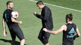 La BBC, en un entrenamiento del Real Madrid. (AFP)