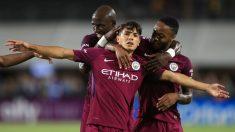 Brahim Díaz celebra un gol con el Manchester City (AFP)