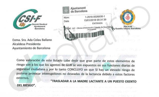 Escrito de CSIF denunciando la situación de las agentes lactantes a Ada Colau