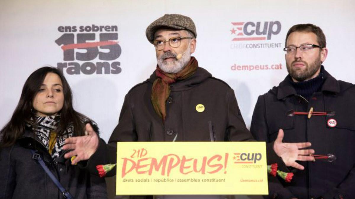 El diputado de la CUP Carles Riera en una acto de la formación (Foto: Efe).