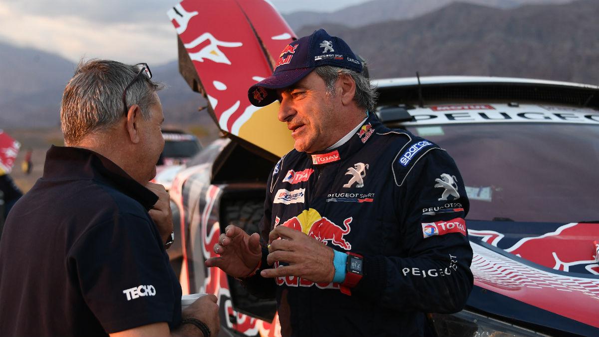 Carlos Sainz, durante el Rally Dakar 2018 (AFP)