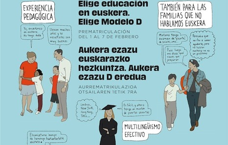 Cartel de la campaña para la escolarización en el modelo D de sólo euskera en Navarra