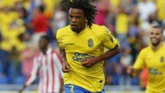 Löic Remy celebra un gol con Las Palmas. (udlaspalmas.es)