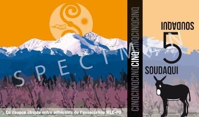 Billete de cinco euros de la nueva 'moneda local' creada por los independentistas para Cataluña Norte