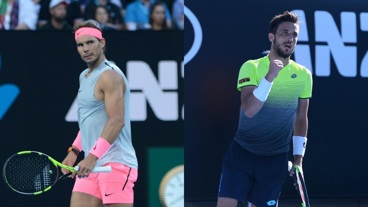 Rafael Nadal y Damir Dzumhur. (Getty)