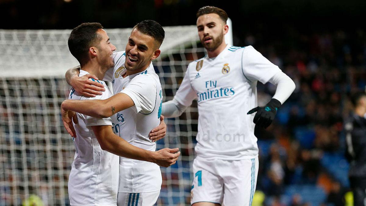 Lucas, Asensio y Mayoral celebran un gol. (Realmadrid.com)