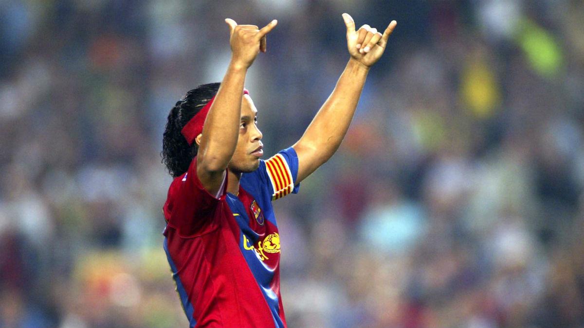 Ronaldinho, durante su etapa en el Barcelona (Getty)