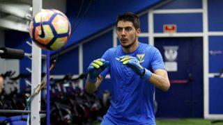 Jon Ander Serantes, durante un entrenamiento con el Leganés. (@JASerantes)