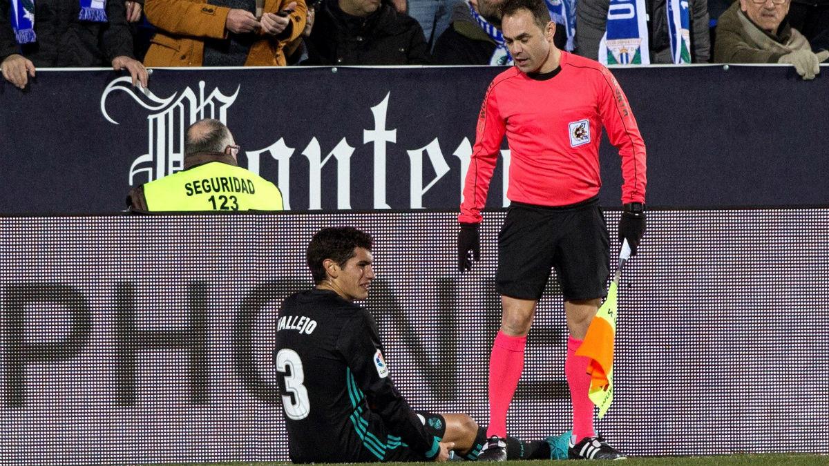 Jesús Vallejo, lesionado frente al Leganés. (EFE)