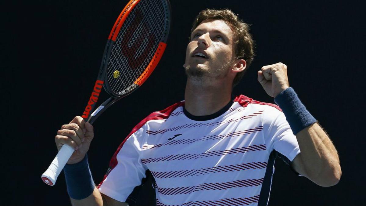 Carreño celebra un punto en el Open de Australia.
