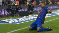 Rafinha celebra un gol con el Barcelona. (AFP)