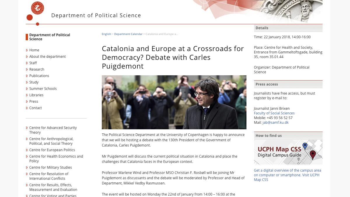 Anuncio del debate de Carles Puigdemont en la Universidad de Copenhague en la web de la institución.