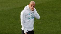 Zidane, en el entrenamiento previo al partido contra el Deportivo. (EFE)