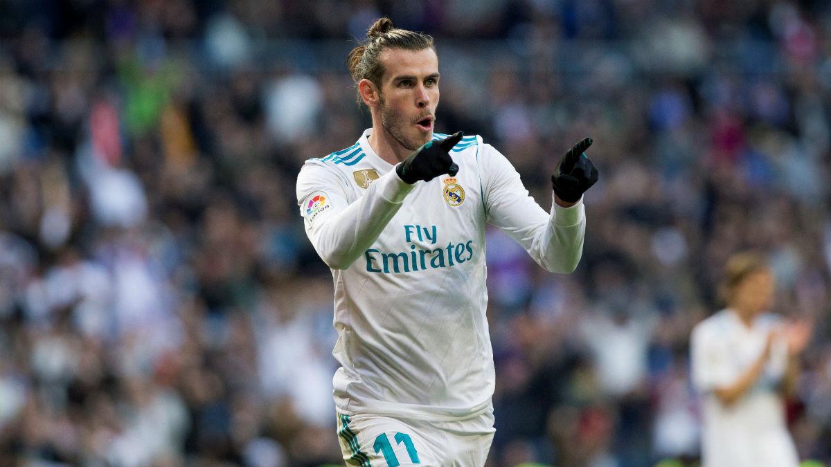 Gareth Bale celebra un gol en el Santiago Bernabéu. (EFE)